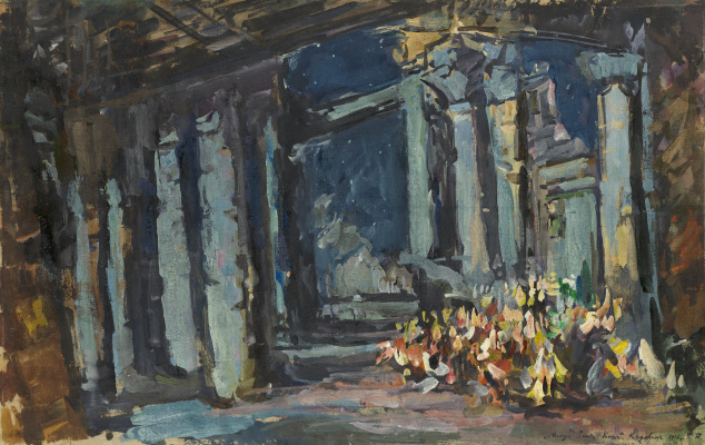 "Konstantin Korovin. Cleopatra Palace, Egyptian Hall. Sketch of scenery for the opera-ballet to them. Rimsky-Korsakov's ""Mlada"""