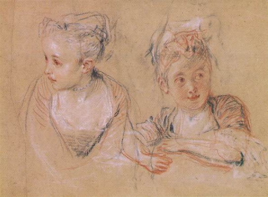 Antoine Watteau. Two sketches of a little girl
