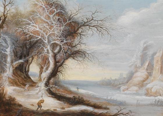 Гейсбрехт Лейтенс. Зимний пейзаж с дровосеком