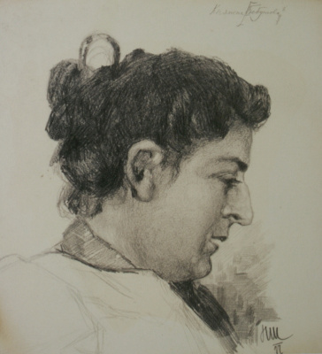 "Nikolay Ivanovich Shestopalov. ""Portrait of Princess Bebutova"" 1897 pencil"
