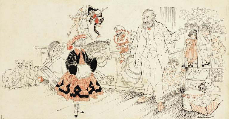 Arthur Rackham. A girl in a toy store