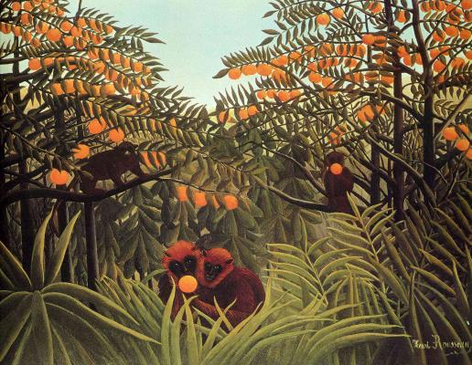 Henri Rousseau. Apes in the orange grove