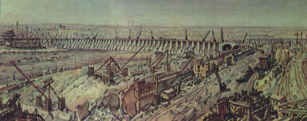 Konstantin Fedorovich Bogaevsky. Panorama of the construction of the Dnieper