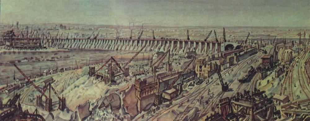 Константин Федорович Богаевский. Панорама строительства Днепрогэса