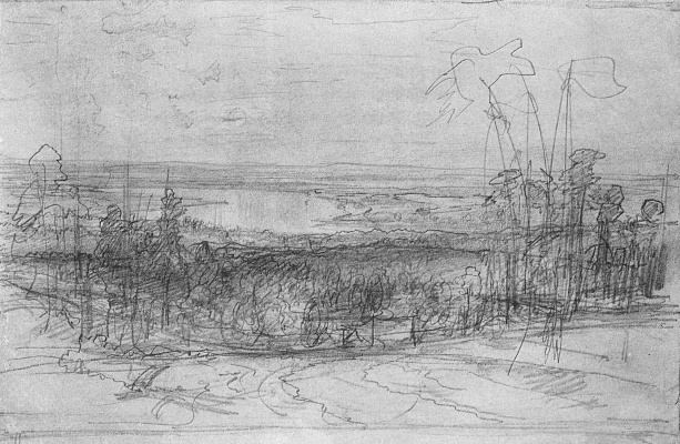 Ivan Ivanovich Shishkin. Flooding like the sea. Sketch
