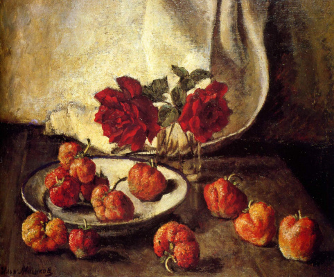 Ilya Ivanovich Mashkov. Two dark roses and a plate of strawberries