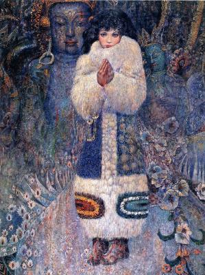 Chong Ping Chen. Girl in a fur coat