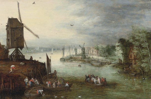 Jan Brueghel the Younger. River landscape with ferry and windmill