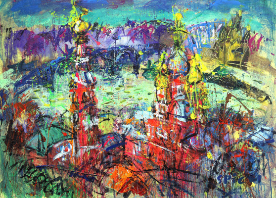 Ilya Pavlovich Spichenkov. Christmas church. Green
