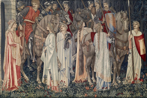 """William Morris. Series """"The Quest for the Holy Grail"""". Departure of the Knights (Together with Edward Burne-Jones)"""