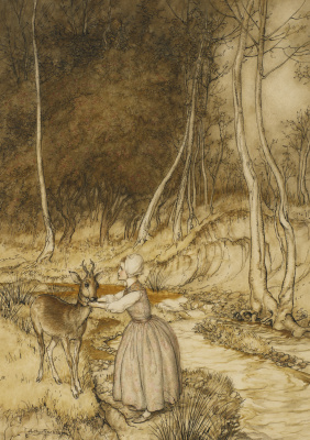 "Arthur Rackham. Illustration for the fairy tale ""Brother and sister"""