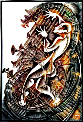 "Vladimir Kataev. ""Silence -4"", linocut, 65 X 45 cm, 2013"