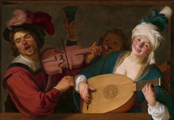 Gerard van Honthorst. A Merry Group behind a Balustrade with a Violin and a Lute Player