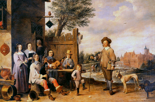 David Teniers the Younger. Family landscape at the hotel