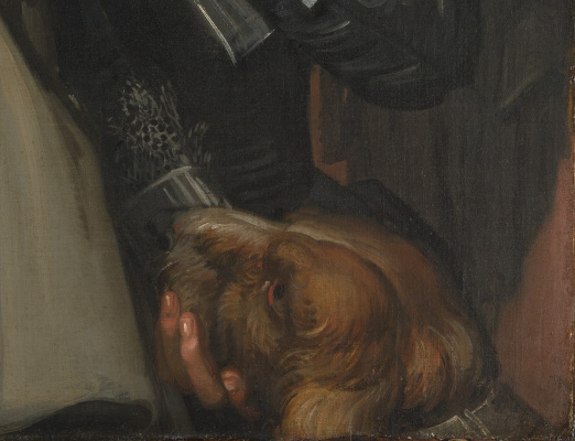 Франс Хальс. Молодой мужчина и женщина в гостинице (Юнкер Рамп и его возлюбленная). Фрагмент 4. Собака