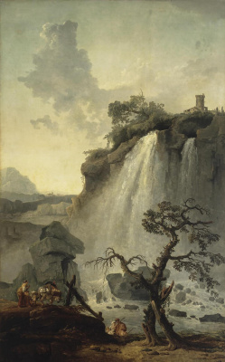 Hubert Robert. Landscape with waterfall