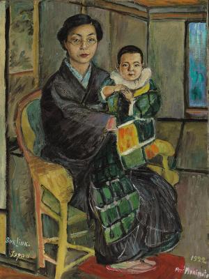 David Davidovich Burliuk. Portrait of Mrs. Morimoto with his son