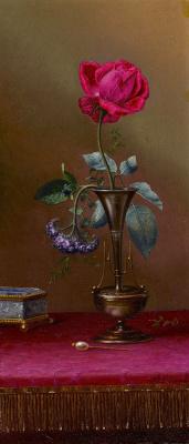 Мартин Джонсон Хед. Натюрморт с розой и гелиотропом в вазе, шкатулкой и шпилькой для волос