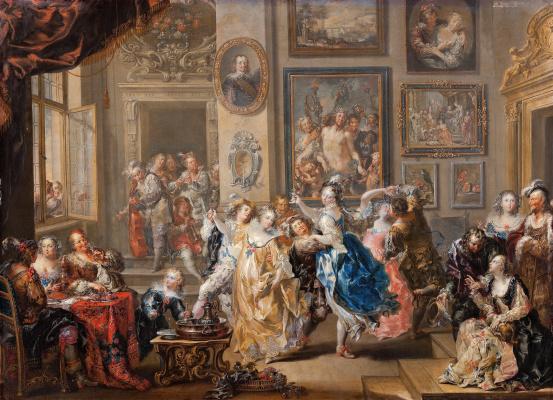 Johann Georg Platzer. Dance scene in a Palace interior