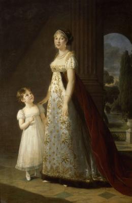 Elizabeth Vigee Le Brun. Portrait of Caroline Murat, sister of Napoleon and her daughter Letizia