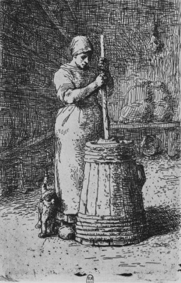 Jean-François Millet. The woman, knocking oil