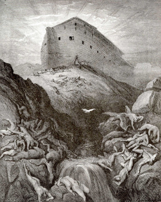 Paul Gustave Dore. Bible illustrations: Noah releases dove