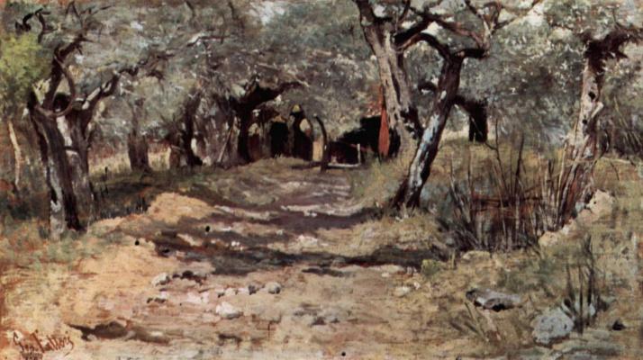 Giovanni Fattori. Dirt road in an Olive grove