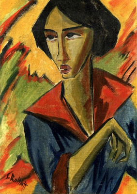 Karl Schmidt-Rottluff. Portrait of a girl with red collar