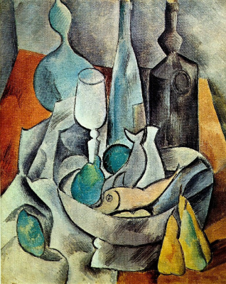 Pablo Picasso. Still life with fish and bottles
