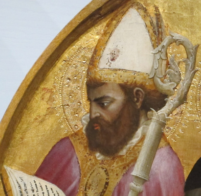 Tommaso Masaccio. Saint Ambrose of Milan with a rod and Bible. Triptych San Jovenale
