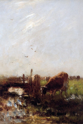 Willem Maris. Cows in the Creek