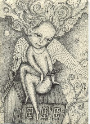Olyona Ivanovna Koneva. Angel on the roof. Print