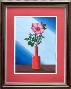 Rosehip flower in a red vase.