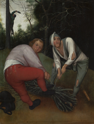 Peter Brueghel The Younger. Two peasants binding twigs