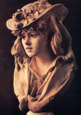 Огюст Роден. Молодая девушка с розами на шляпке