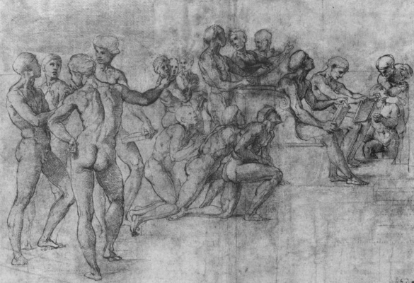 "Raphael Santi. Sketch for the fresco ""Dispute"". The sketches of Nude figures"