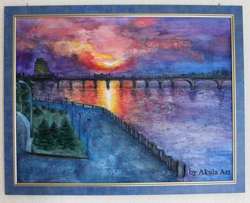 Julia Akulova. Sunset on the waterfront of Dnepropetrovsk