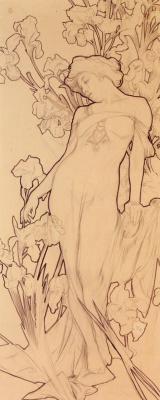 Alfons Mucha. Iris. Sketch