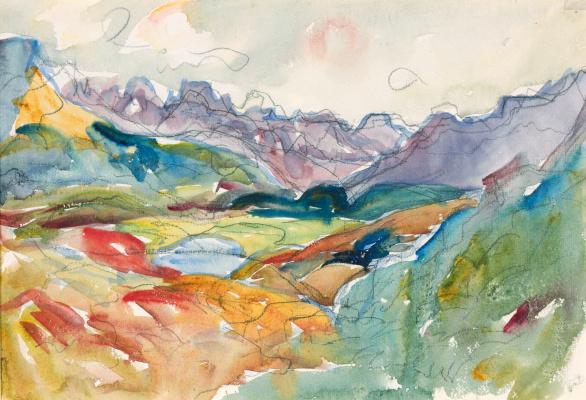 Giovanni Giacometti. The landscape around lake Sils