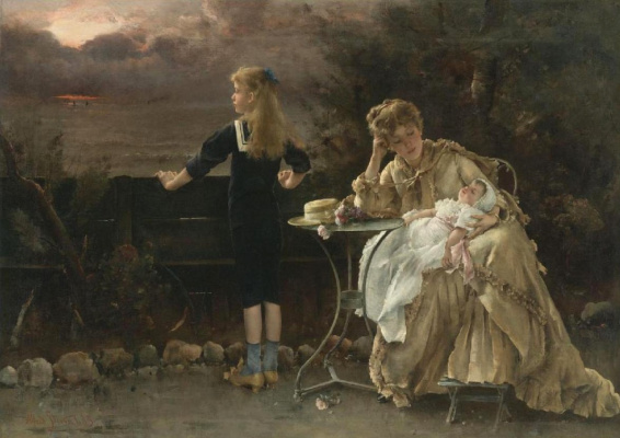 Alfred Stevens. The mother and children