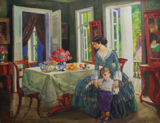 "Nikolay Ivanovich Shestopalov. ""Family in the interior"" 1910s"
