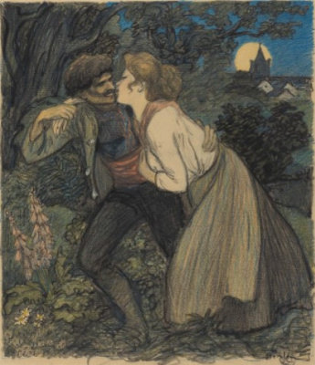 Theophile-Alexander Steinlen. The wolf and the wolf