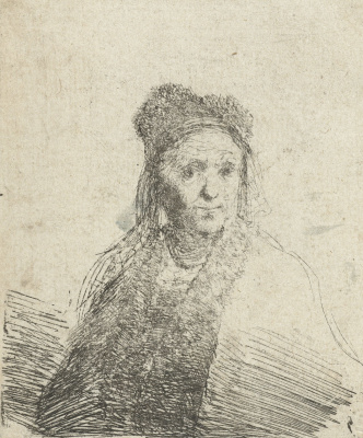 Jan Livens. Portrait of an elderly woman in a fur hat