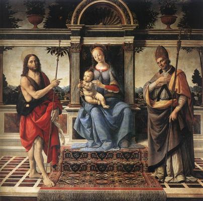 Андреа дель Вероккьо. Madonna with John the Baptist and the donor
