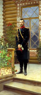 Ilya Efimovich Repin. Portrait of Emperor Nicholas II on the porch