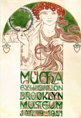 Alfons Mucha. Poster design for exhibition Flies in the Brooklyn Museum, new York, January-February 1921