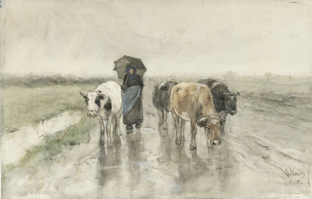 Anton Maouve. Shepherdess with cows on a rural road in the rain