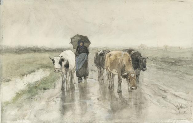 Антон Мауве. Пастушка с коровами на сельской дороге под дождем