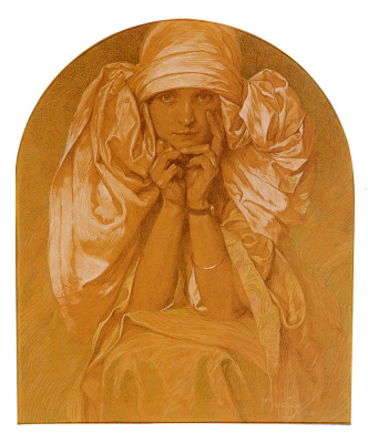 Alphonse Mucha. Portrait of the artist's daughter, Jaroslava