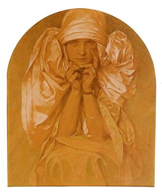 Alphonse Mucha. Portrait of the artist's daughter, Jaroslava